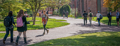 students walking on path along campus