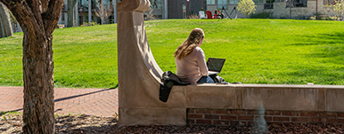 one student studying alone outside on campus grounds on a sunny day